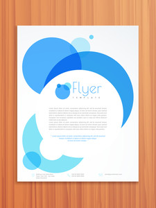 Creative professional flyer template or brochure design for your business on wooden background.