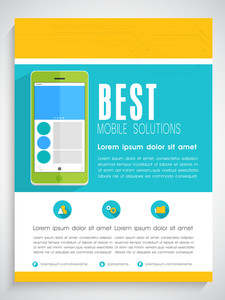 Creative professional template banner or flyer design with smartphone for Mobile Solutions.