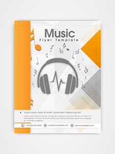 Creative professional template brochure or flyer design for music company.