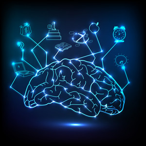Creative shiny illustration of brain infographic on blue background.