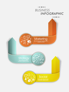 Creative shiny infographic arrows made by paper for Business reports and presentation.