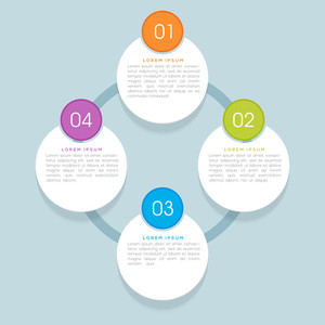 Creative shiny infographic circles on sky blue background for Business.