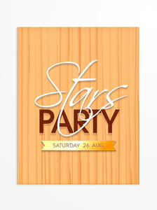 Creative Stars Party invitation card design with date can be used as template or flyer design.