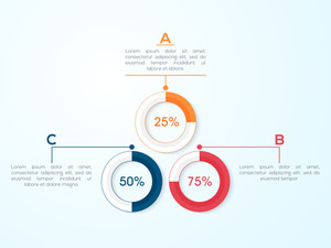 Creative statistical infographic circles for Business reports and presentations.