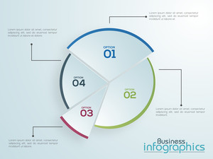 Creative statistical pie chart infographic on shiny background for Business.