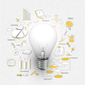 Creative stylish business infographic layout with bulb for idea concept on various elements decorated background