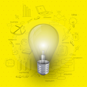 Creative stylish business infographic layout with bulb for idea concept on various elements decorated yellow background
