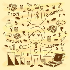Creative stylish businessman with various business growth and success elements for your print
