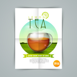 Creative stylish flyer banner or template for tea shop with lemon tea cup.