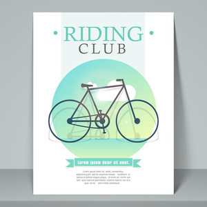 Creative stylish flyer template or banner design for cycle riding club with cycle.