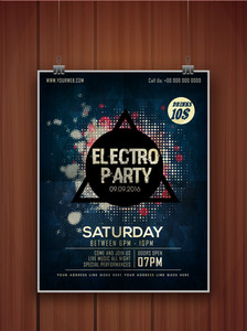 Creative stylish hanging flyer banner or template on wooden background for Electro Party celebration.