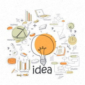 Creative stylish idea concept business infographic layout with colorful elements on white background.