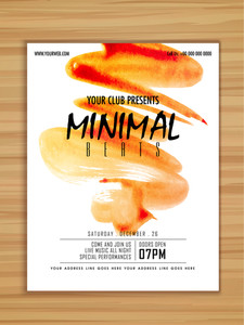 Creative stylish Minimal Beats Music Party celebration flyer