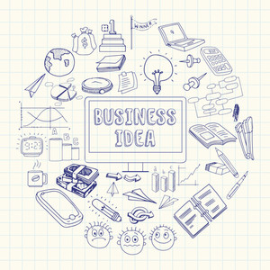 Creative stylish set of various business infographic elements for idea concept on notebook paper background.