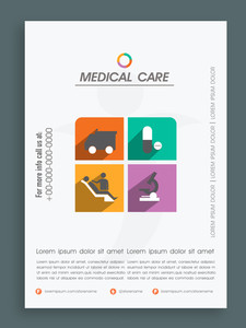 Creative template banner or flyer design for Health and Medical.