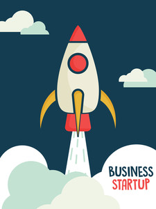 Creative template banner or flyer design with illustration of a rocket in the sky on blue backgrond for business startup concept