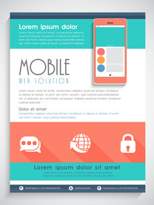 Creative template banner or flyer design with illustration of smartphone for Mobile Web Solution.