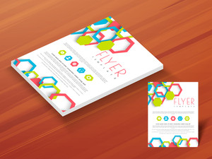 Creative template brochure or flyer design on wooden background for your business reports and presentation.