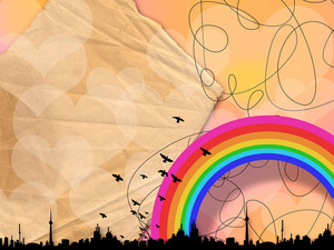 Creative Urban Background With Rainbow