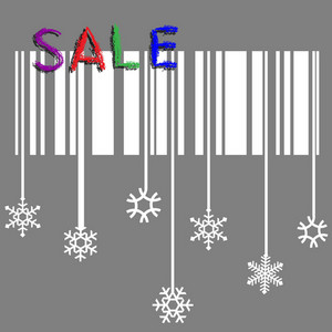 Creative Winter Sale Vector With Stylized Snowflake And Bar-code