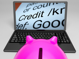 Credit Definition On Laptop Showing Financial Help