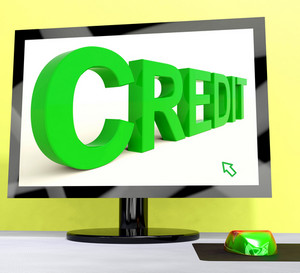 Credit Word On Computer Shows Financial Loan