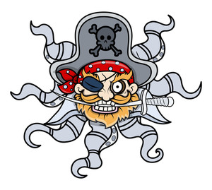 Creepy Octopus Head Captain Pirate - Vector Cartoon Illustration