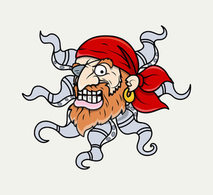 Creepy Octopus Head Pirate Creature - Vector Cartoon Illustration