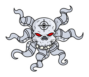 Creepy Octopus Head Skull - Vector Cartoon Illustration