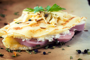 Crepes Stuffed With Pork Ham And Melted Cheese