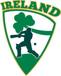 Cricket Batsman Batting Shamrock Ireland