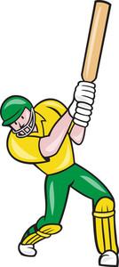 Cricket Player Batsman Batting Front Cartoon Isolated