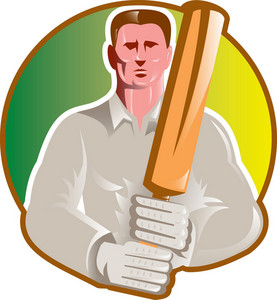 Cricket Player Batsman With Bat Front View