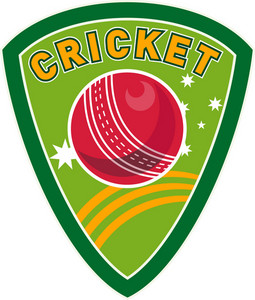 Cricket Sports Ball Shield Stars