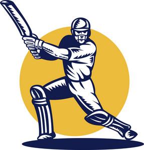 Cricket Sports Batsman Batting Front View