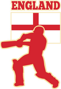 Cricket Sports Batsman England Flag