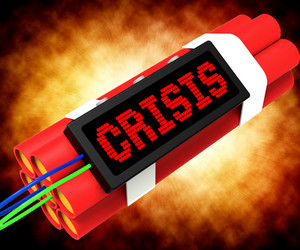 Crisis Message On Dynamite Showing Emergency And Problems