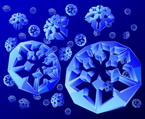 Cristal Blue Snowflakes. Vector.