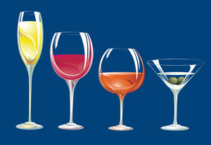 Cristal Glasses And Drinks. Vector