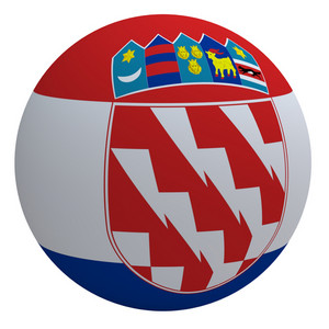 Croatia Flag On The Ball Isolated On White.