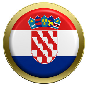 Croatia Flag On The Round Button Isolated On White.