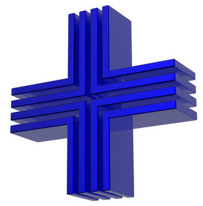 Cross In Blue Isolated On White