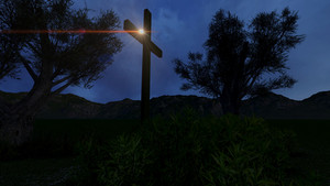Cross In Nature By Night