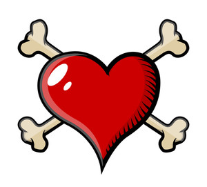 Crossed Bones Heart Tattoo - Vector Cartoon Illustration