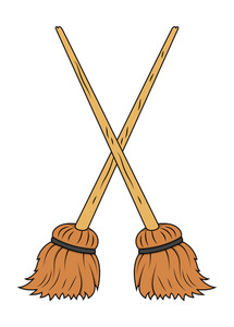 Crossed Broom Vector