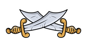 Crossed Emblem Sword Arms - Vector Cartoon Illustration