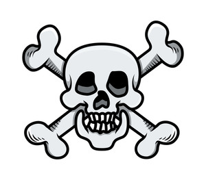 Crossed Skull - Vector Cartoon Illustration