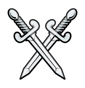 Crossed Sword Vector Illustration