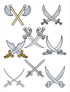 Crossed Swords - Cartoon Vector Illustration