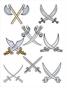 Crossed Swords - Cartoon Vector Illustration